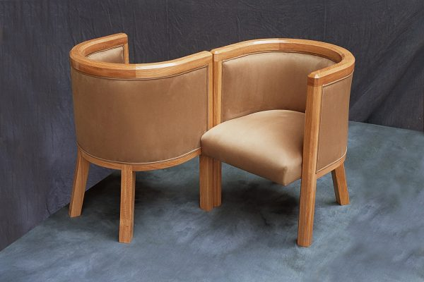 Oak-and-faux-suede-love-seat