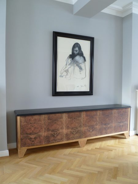 Credenza in walnut and marble